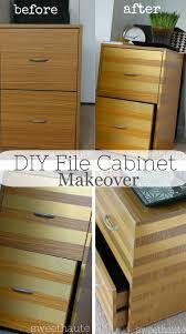 Diy File Cabinet Desk by File Cabinet Makeover Gold Stripe Diy Room Decor Sweethaute