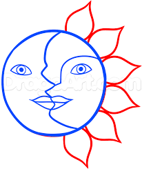 how to draw the sun and moon by outer space