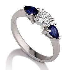 three stone engagement ring blue sapphire ring 14k white gold