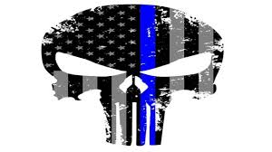 Subdued American Flag With Thin Blue Line Punisher Skull 5 5 X 4 Inch Tattered Subdued Us Flag Reflective