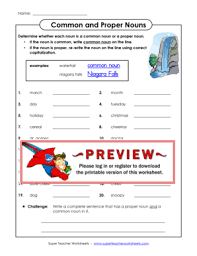 common and proper nouns super teacher worksheets fill online