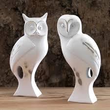 pair of white wood owl ornaments ebay