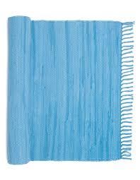 Rag Runner Rug Plain Blue Fringed Scandinavian Rag Rug Hallway Runner From