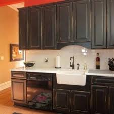 Antique Looking Kitchen Cabinets Distressed Black Kitchen Cabinets With Farmhouse Sink And Antique