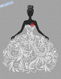 counted cross stitch pattern in wedding dress abstract from