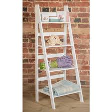 Short Ladder Bookcase White Ladder Shelf With Four Tiers