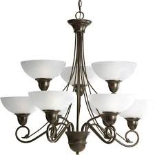 9 Bulb Chandelier Progress Lighting Applause Collection 9 Light Antique Bronze