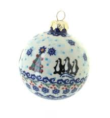 blue rose polish pottery arctic holidays large christmas ball