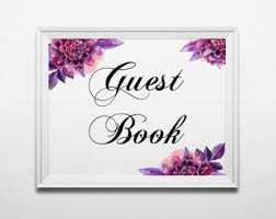 purple guest book purple wedding sign etsy