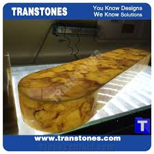 Yellow Reception Desk Led Lighting Translucent Engineered Glass Stone Solid Surface