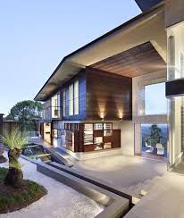 charming brown wood glass simple design modern house interior