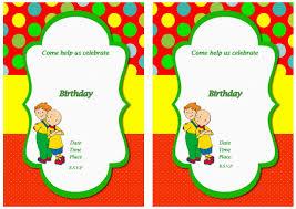 Free Printable Birthday Invitation Cards Templates Caillou Free Printable Birthday Party Invitations Birthday Party