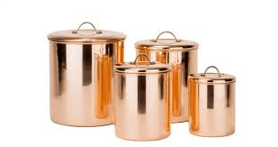 designer kitchen canister sets 4 polished copper canister set with brass knobs