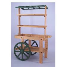 wood display cart with roof discount shelving