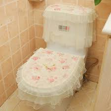 beige bathroom designs floral lace seat cover with beige ceramic floor for small bathroom