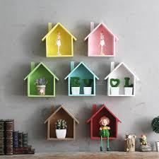 Triangle Wall Shelf Wooden House Shelving Display Unit Shelf Wall Hanging Box Storage