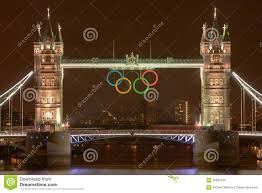 olympic rings london images Tower bridge at night with olympic rings editorial stock image jpg