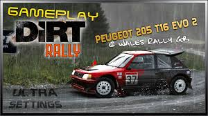 peugeot 205 rally dirt rally ultra settings gameplay peugeot 205 t16 evo 2