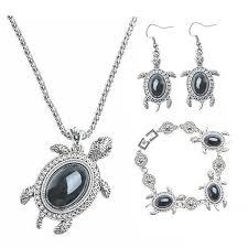 free set bracelet images Classic cute natural stone tortoise jewelry set necklace jpg