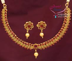 gold necklace with stones images Kempu temple stones necklace gold plated antique finish earrings jpg