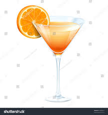 martini white orange cocktail glass martini on white stock vector 74009515