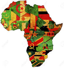 Map Of Africa Countries by Some Very Old Grunge Map With Flags Of African Countries Stock