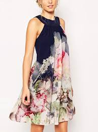 blue colorful plus size above knee floral halter dress for casual