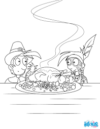 turkey corn pilgrim and native american coloring pages