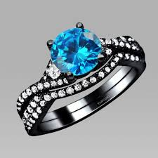 black and blue wedding rings wedding ring sets cubic zirconia