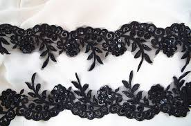 black lace trim black bead lace trim with sequins black lace trim by the yard
