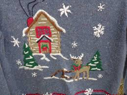 ugly christmas sweater house reindeer winter scene tacky ugly