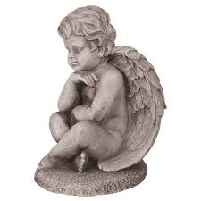 grey cherub garden ornament statues