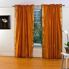 Mustard Colored Curtains Inspiration Heavenly Faux Silk Orange Curtains Hang On Bronze Curtain