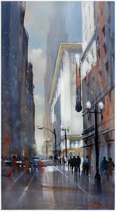 5th and broadway los angeles by w schaller watercolor 30