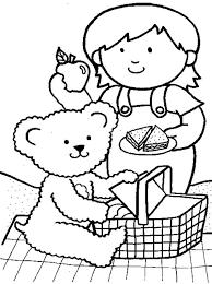 picnic teddy bear coloring netart
