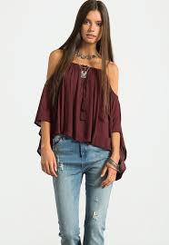 cold shoulder tops gauze cold shoulder top sans souci stores