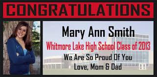 high school senior banners whitmore lake high school graduation banners