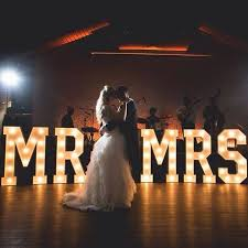 mr and mrs sign for wedding hire large light up signs