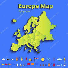 Europe Map Political by Europe Map Infographic Political Map Individual States Blue Green