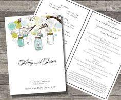 Mason Jar Wedding Programs Mason Jar Wedding Programs From Neillydesign On Etsy