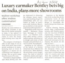 bentley chennai luxury carmaker bentley bets big on india plans more showrooms