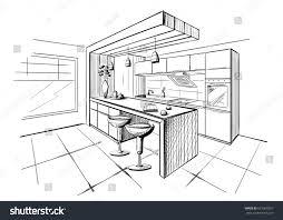 interior sketch modern kitchen island stock vector 621969257