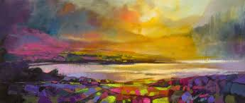 highland heather semi abstract landscape painting by scott naismith