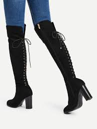 s high boots lace up back block heeled knee high boots shein sheinside
