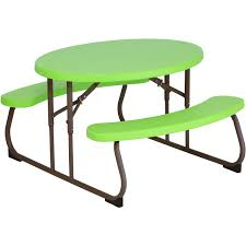 lifetime fold away picnic table lifetime children s oval picnic table lime green walmart com