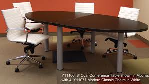 Conference Table With Chairs Conference Table In White Maple Or Mocha 8 U0027 Length See Other Sizes