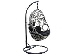 chaise suspendu fauteuil suspendu tobati en résine tressée gris foncé