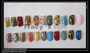 acrylic nail art salon leopard design nail tips designed care