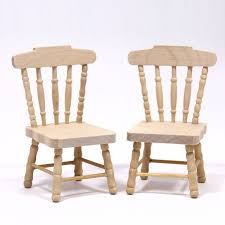 set of 2 dolls house kitchen chairs plain wood unfinished wood