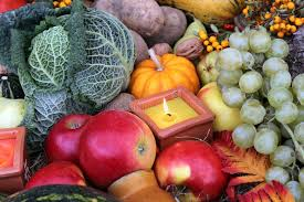 decoration for thanksgiving with fruit and vegetab stock photo